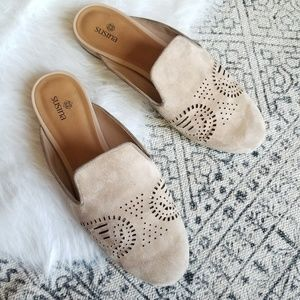 Susina Shoes - Susina Angelika Laser-cut Suede Flat Mule 8.5